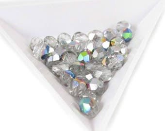 """6mm faceted round, transparent clear vitrail Czech fire-polished glass beads, 8"""" strand (33 beads). New Year's,  Girl's night out"""