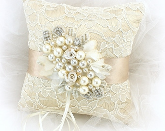 Ring Bearer Pillow,Champagne,Gold,Ivory,Lace Ring Pillow,Personalized,Wedding Ring Pillow,Beaded Pillow,Vintage Wedding,Gatsby Wedding
