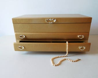 Vintage jewelry box unisex jewelry box Gold jewelry box Lady Buxton jewelry box