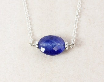 ON SALE Blue Sapphire Quartz Necklace - 925 Sterling Silver