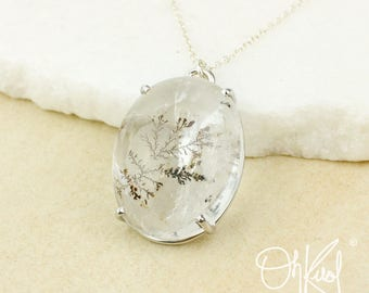 Silver Clear Dendritic Quartz Necklace - Moss Tree Inclusions - Oval Pendant