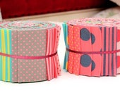 """Scrumptious Quilt Jelly Roll Polka Dot Strips Chic Fabric Roll 2.5x44"""" 20 Strips"""