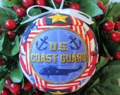 Ornament / Coast Guard Christmas Ornament Patriotic Fabric Quilted Holiday Handmade Gift Tree Decor Ready to ship by CraftCrazy4U on Etsy