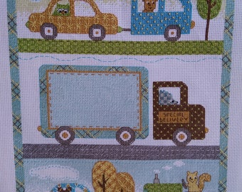 Finished Personalized Happi Transport Cross Stitch Baby Birth Record Announcement