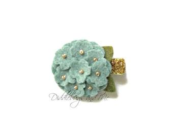 Heather Blue Hydrangea Hair Clip, Felt Flower Hair Clip, Toddler Clips, Girl's Flower Hair Clip, Antique Blue Hair Clips, Flower Girl Clips,