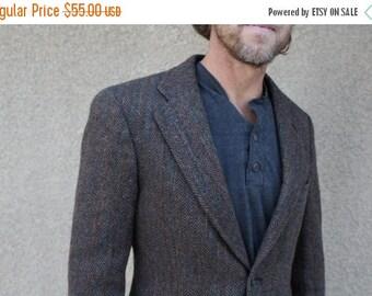 SALE SALE SALE Vintage Mens Suit Coat Wool Tweed Herringbone Brown Justers Size 38 Medium Hipster Fall Winter Fashion Wedding
