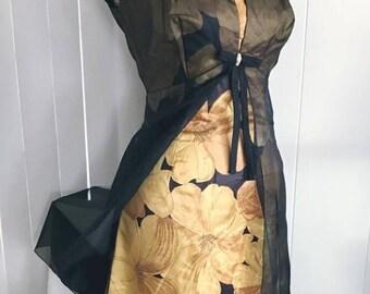 Memorial Day Sale 25% OFF Vintage Sheer Illusion Overlay Rayon Wiggle Dress 50's 60's - Viva Las Vegas Size M