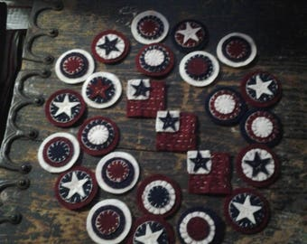 Americana Wool pennies 25, reclaimed wool hand stitched