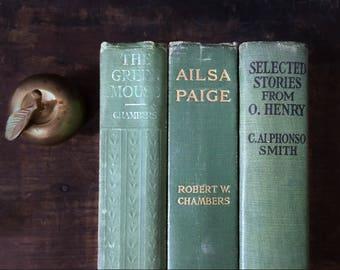 Green Vintage Book Set, Green Home Decor, Instant Book Collection, Rustic Decor, Cabin, Farmhouse