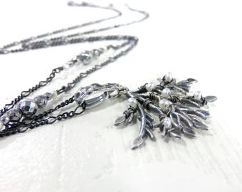 Sterling Silver Necklace, Tree Necklace, Freshwater Pearl Necklace, Branch Necklace, Beaded Necklace, Silver Necklace - Under the Boughs