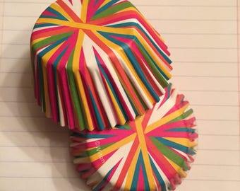 Cupcake Liners Bold Pretty rainbow stripes 2 Dozen(24)