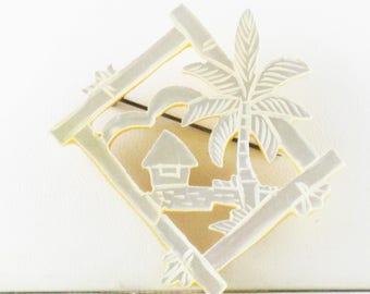 Vintage Hand Carved Mother of Pearl Hut and Palm Tree Brooch Pin (B-1-4)