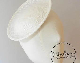 Oval Scallop Sinamay Fascinator Hat Base for Millinery & Hat Making - Ivory