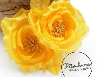 Silk 'Fiona' Double Rose Millinery Fascinator Flower Hat Mount - Yellow
