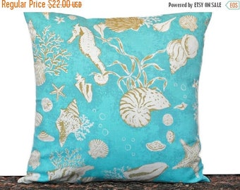 Christmas in July Sale Turquoise Seashells Pillow Cover Cushion Coastal Olive Green Beige Seahorse Sea Coral Beach Repurposed Decorative 16x