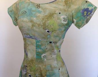 """Cave Paintings Vintage 50s Cotton Dress 34"""" bust Pictographs"""