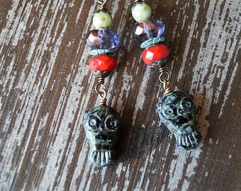 Little Owl Earrings - Boho Earrings - Woodland Owls - Black and Red - Bead Soup Jewelry