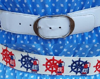 Vintage Belt, 70s Belt, Nautical Belt, Skippers Wheel, Red White Blue, July 4th, Vintage Costume, 70s Costume, Independence Day, Wide Belt