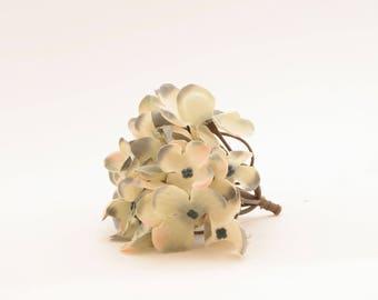 Creamy Sage with Peach, Blue and Cream Highlights Silk Hydrangea Bunch - Hydrangea Head - Artificial Flowers