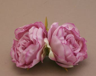 2 Small LAVENDER Ruffle Peonies  - Artificial Flower Heads, Silk Flowers