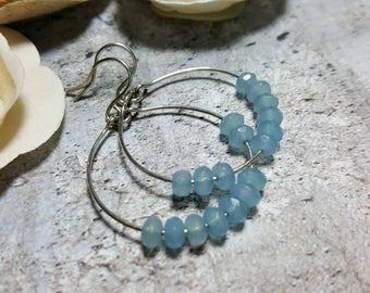 Sterling Silver hoops blue angelstone #1042