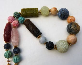 Gorgeous Chinese carved Gemstone Necklace, Shou Bead Necklace, Jade, Coral, etc