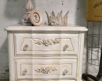 Painted Cottage Chic Shabby Romantic French Night Table NT934