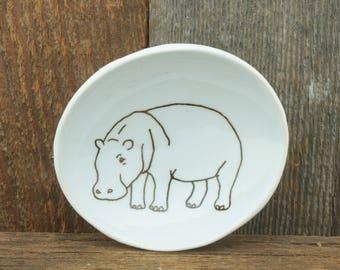 Hippopotamus Woodgrain Dish by SKT Ceramics. Hand built porcelain dish, jewelry dish, olive oil dish, tapas dish by SKT Ceramics