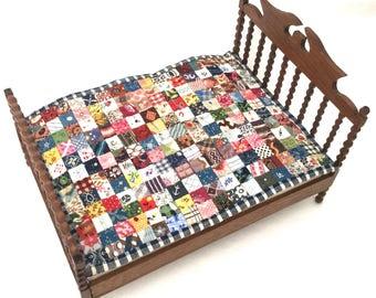 Antique Fabric Dollhouse Miniature Patchwork Quilt on Vintage Leo Fallert Dollhouse Bed