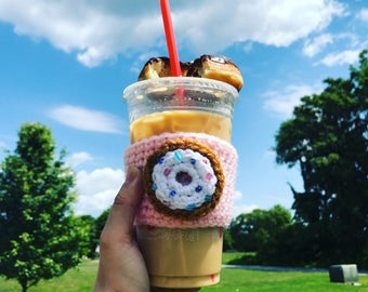 Doughnut coffee mug, cup cozy, crochet cup cozy, starbucks coffee sleeve, cup holder, starbucks coffee kozie, gift for her,coffee lover gift