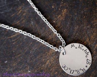 Coordinates Charm Necklace, Coordinates Jewelry, Latitude/Longitude Necklace