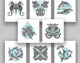 Tribal Underwater Animals Tattoo Style, Mini Art Prints, Set of 8