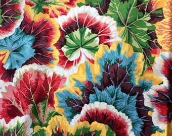 Philip Jacobs OOP, rare, Variegated Leaves, natural, Kaffe Fassett collective botanical leaf fabric, by the yard, white, blue, green, red