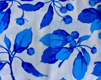 Martha Negley OOP, rare, Bud, Flower Market collection, blue ivory floral fabric, Westminster, by the half yard, yardage available