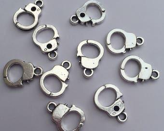 Set of 10 x Tibetan silver mini handcuff charms