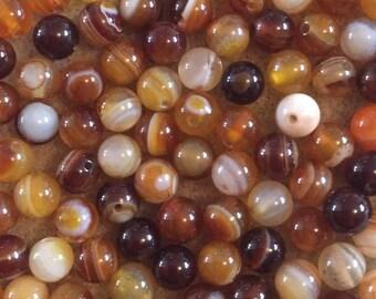 30 x 6mm brown striped agate semi precious beads