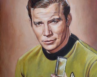 Captain Kirk - Star Trek Original Series fine art print - James T Kirk Portrait Painting William Shatner - 5x7 8x10 11x14