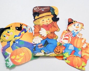 Scarecrow Tags - Set of 7 - Fall Scarecrows - Gift Tags - Hand Cut - Vintage Scarecrows - Orange Yellow Blue - Bright Scarecrow - Fall Tags