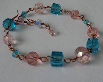 OOAK Aquamarine blue &  Wine Crystal Adjustable Bracelet Wire-Wrapped