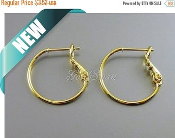 10% SALE 4 pcs / 2 pairs shiny gold 20mm plain ear wires, hoops, huggie earrings, gold hoops 983-BG-20