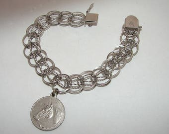 Vintage Dated 1940's Ladies Sterling Silver charm Bracelet w/LOVE HORSE TOKEN Charm