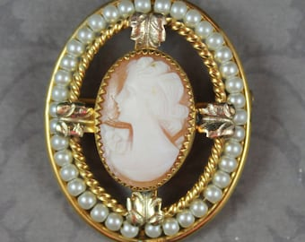 Vintage 10K Gold Fill Shell Cameo Oval Faux Pearl CT Brooch