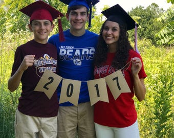 2017 Pennant Banner - Graduation Photo Prop - READY to SHIP - Class of 2017 Banner Graduation Party Decor Grad Photo Prop Session New Years