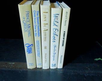 White Neutral Sand Beige Book Stack - Instant Library - Bookshelf Decor Vintage Old Books