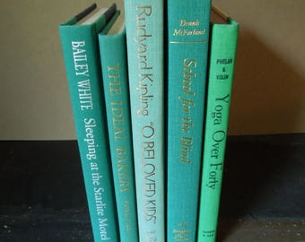 Vintage Hardcover Teal Blue Green Books for Decor - Wedding Centerpiece - Used Book Stack - Instant Library - Bookshelf Decor