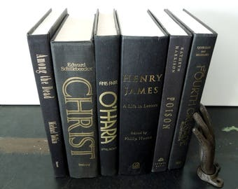 Black Book Stack - Instant library - Dark Books for Decor - Centerpiece Display Props Upcycle