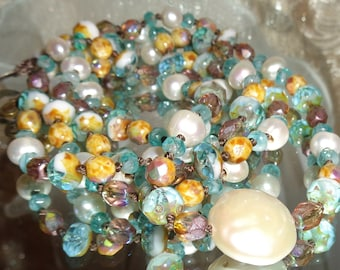 Bohemian gypsy knotted white fresh water pearl and aqua Picasso bracelet or long necklace Pamelia Designs Sacred Jewelry