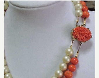 CIJ SALE Christmas JULY Sale Amazing Coral Art Glass and Pearl Flower Clasp Vintage Necklace