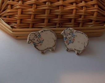 Ceramic Handcrafted Sheep Earrings, Pierced