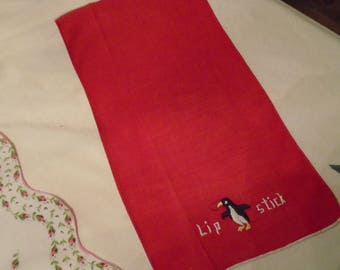 Handkerchief  Oblong  Cotton With A Penguin  And Stitched  Lip Stick  FREE SHIPPING